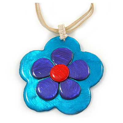 Romantic Shell Flower Pendant with Cream Faux Suede Cords (Teal, Blue, Pink) - 40cm L