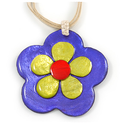 Romantic Shell Flower Pendant with Cream Faux Suede Cords (Purple, Lime Green, Red) - 40cm L