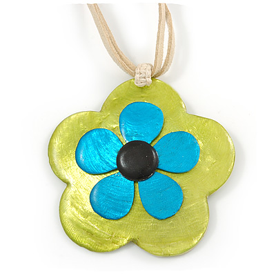 Romantic Shell Flower Pendant with Cream Faux Suede Cords (Lime Green, Blue, Black) - 40cm L