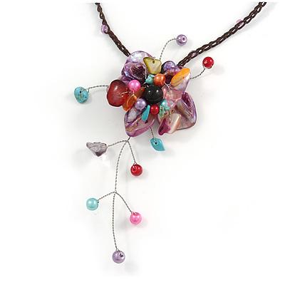 Purple Shell Flower Pendant with Waxed Cotton Cord Necklace - 60cm L/ 9cm Front Drop