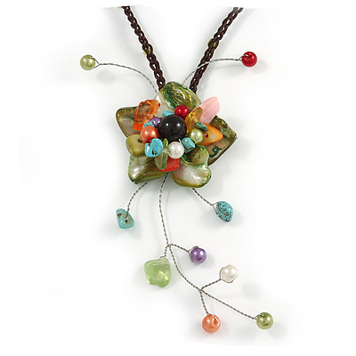 Green Shell Flower Pendant with Brown Waxed Cord Necklace - 60cm L/ 9cm Front Drop