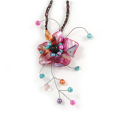 Magenta Shell Flower Pendant with Waxed Cotton Cord Necklace - 60cm L/ 9cm Front Drop