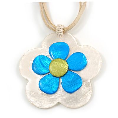 Romantic Shell Flower Pendant with Cream Faux Suede Cords (White, Blue, Olive) - 40cm L