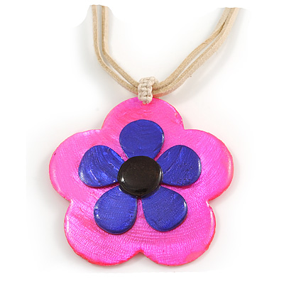 Romantic Shell Flower Pendant with Cream Faux Suede Cords (Deep Pink, Blue) - 40cm L
