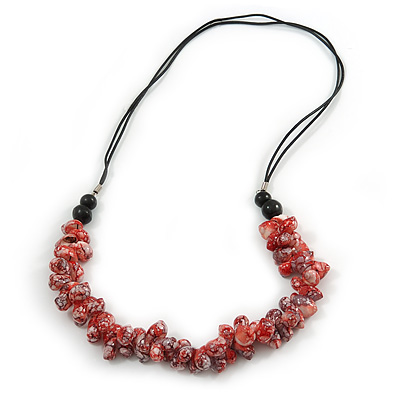 Stylish Cluster Shell Bead with Black Cotton Cord Necklace (Red) - 66cm Long