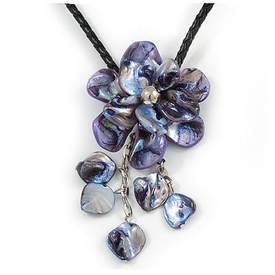 Violet Blue Shell Flower Pendant with Black Faux Leather Cord Necklace - 44cm/ 4cm Ext/ 12cm Front Drop