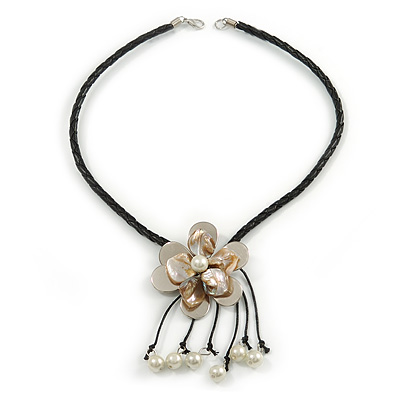 Antique White Shell Flower Pendant with Black Faux Leather Cord Necklace - 46cm/ 8cm Front Drop - main view