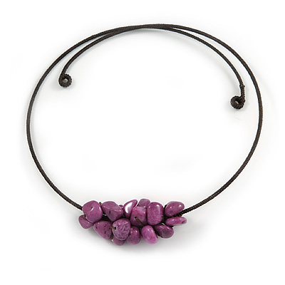 Chunky Semiprecious Stone Cluster Pendant with Flex Wire Choker Necklace (Purple) - Adjustable