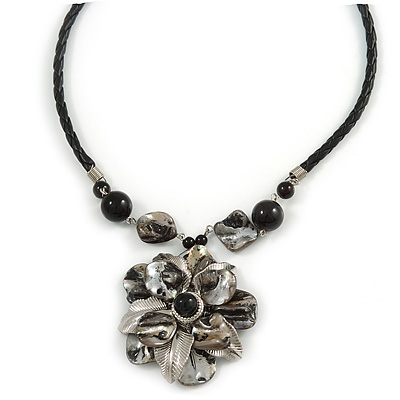 Grey Sea Shell Flower Pendant with Black Faux Leather Cord In Silver Tone - 44cm L/ 6cm Ext - main view