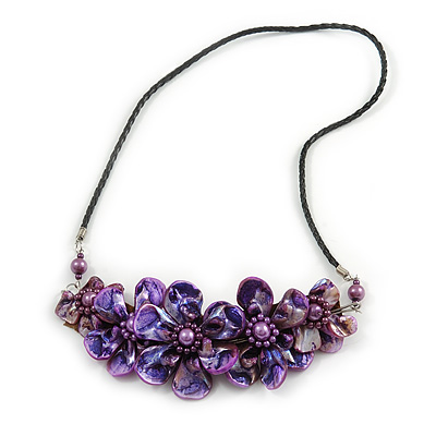 Statement Purple Shell Floral Necklace with Black Faux Leather Cord - 64cm L