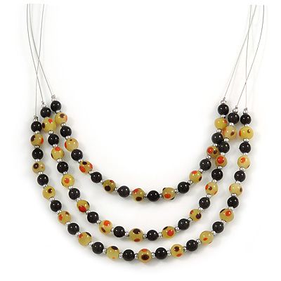 3 Strand Black/ Lemon Yellow Glass Bead Wire Layered Necklace - 58cm Long - main view