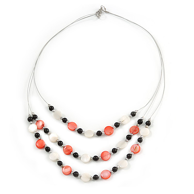 3 Strand White/ Red/ Black Shell and Glass Bead Wire Layered Necklace - 60cm L - main view