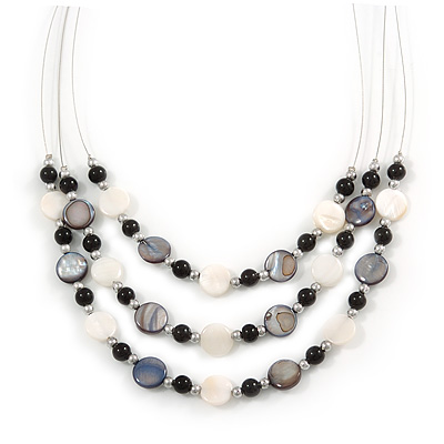 3 Strand White/ Grey/ Black Shell and Ceramic Bead Wire Layered Necklace - 60cm L