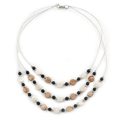 3 Strand White/ Brown/ Black Shell and Ceramic Bead Wire Layered Necklace - 60cm L - main view