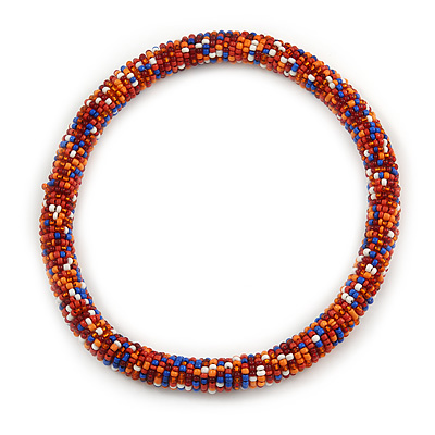 Statement Chunky Orange/ Blue/ Coral/ White Beaded Stretch Choker Necklace - 44cm L