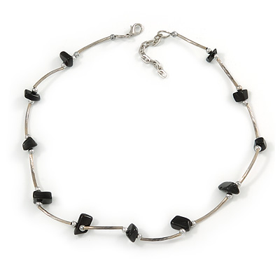 Delicate Black Semiprecious Stone with Silver Bar Necklace - 42cm L/ 5cm Ext
