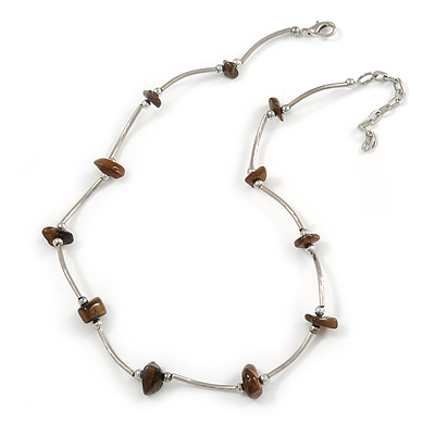 Delicate Brown Semiprecious Stone with Silver Bar Necklace - 42cm L/ 5cm Ext