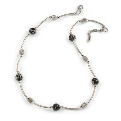 Delicate Black Ceramic Bead with Silver Bar Necklace - 46cm L/ 3cm Ext