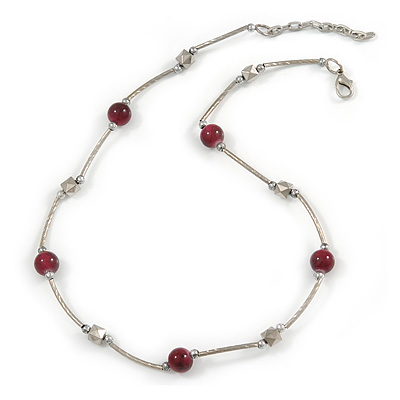 Delicate Ceramic and Acrylic Bead Necklace In Silver Tone (Berry) - 45cm L/ 4cm Ext