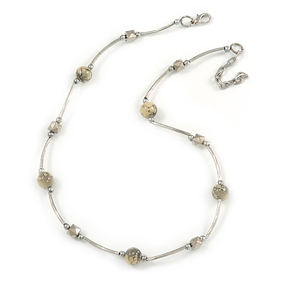 Delicate Ceramic and Acrylic Bead Necklace In Silver Tone (Off White/ Grey) - 45cm L/ 4cm Ext
