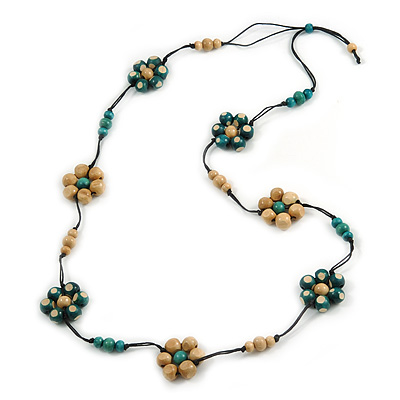 Long Green/ Natural Wood Bead Floral Black Cotton Cord Necklace - 116cm Long