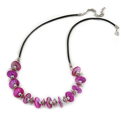 Fuchsia Coin Shell and Silver Tone Metal Button Bead Black Rubber Cord Necklace - 61cm L/ 7cm Ext