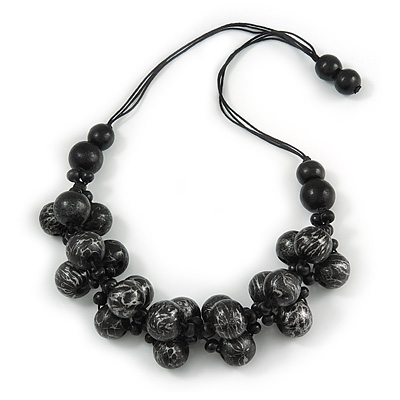 Chunky Wood Bead Cotton Cord Necklace (Black/ Silver) - 66cm L - main view