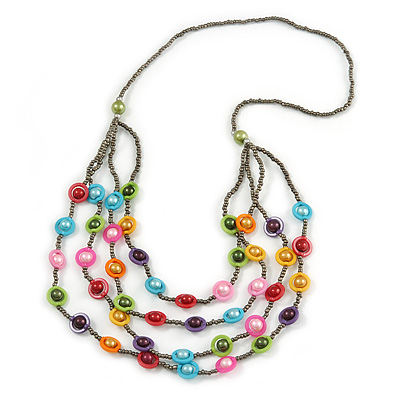 Multistrand Layered Glass Bead Necklace (Multicoloured) - 80cm L