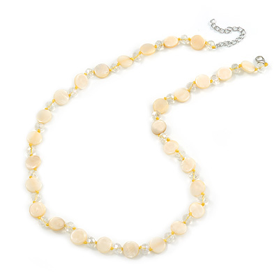 Pastel Yellow Coin Shell and Crystal Glass Bead Necklace with Silver Tone Closure - 56cm L/ 5cm Ext - main view