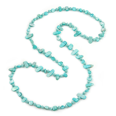 Long Mint Blue Shell Nuggets/ Glass Crystal Bead Necklace - 120cm L
