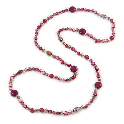 Long Plum Shell Nugget, Ceramic and Glass Crystal Bead Necklace - 112cm L