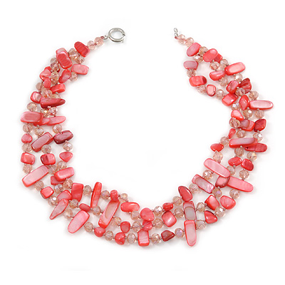 3 Row Peony Pink Shell And Pale Rose Pink Glass Bead Necklace - 45cm L