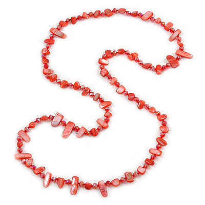Stunning Long Red Shell Nuggets and Glass Crystal Bead Necklace - 120cm L