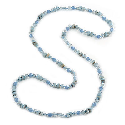 Long Pastel Blue Semiprecious Stone, Agate and Glass Bead Necklace - 120cm L