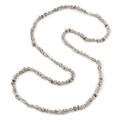 Long Light Grey Semiprecious Stone, Agate and Glass Bead Necklace - 120cm L