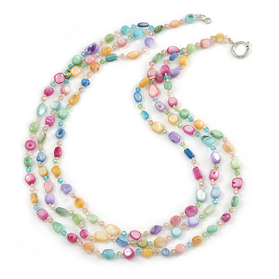 3 Row Layered Pastel Multicoloured Shell And Glass Bead Necklace - 58cm L - main view
