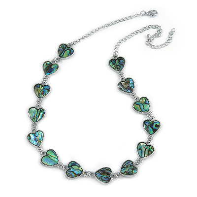 Romantic Multi Heart Necklace With Natural Greenish Blue Abalone Shell in Silver Tone - 42cm Long