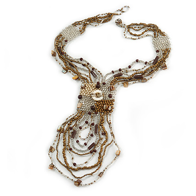 Bronze/ Antique White/ Transparent Silver Glass Bead Tassel Necklace with Button and Loop Closure - 46cm L (Necklace)/ 20cm L (Front Drop
