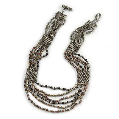 Stunning Glass Beaded Necklace (Grey/ Black/ Bronze) - 50cm L