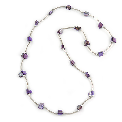 Purple Shell Nugget Necklace In Silver Tone Metal - 76cm L