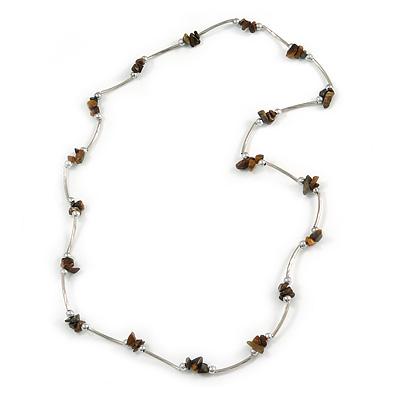 Brown Semiprecious Stone Necklace In Silver Tone Metal - 66cm L