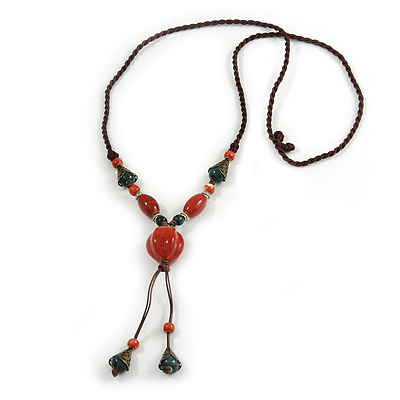 Long Orange/ Teal Ceramic Bead Tassel Necklace with Brown Cotton Cord - 80cm L/ 10cm Tassel