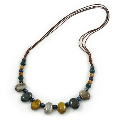 Multi Ceramic Bead Brown Cord Necklace (Dusty Yellow, Grey, Blue) - 60cm to 80cm (Adjustable) - main view