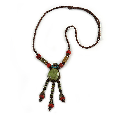 Vintage Inspired Olive Green/ Red Ceramic Bead Tassel Brown Silk Cord Necklace - 58cm Long