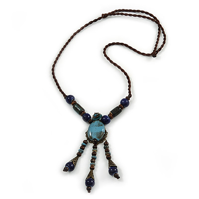 Vintage Inspired Blue Ceramic Bead Tassel Brown Silk Cord Necklace - 58cm Long - main view