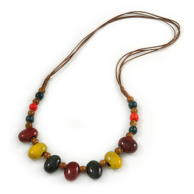 Multi Ceramic Bead Brown Cord Necklace (Dusty Yellow, Red, Green) - 60cm to 80cm (Adjustable) - main view