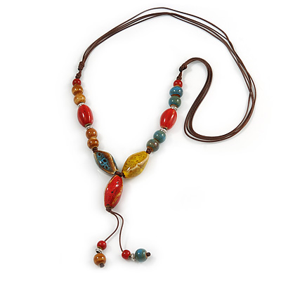 Long Dusty Yellow/ Blue/ Red/ Brown Ceramic Bead Tassel Cord Necklace - 60cm to 80cm Long (Adjustable) - main view