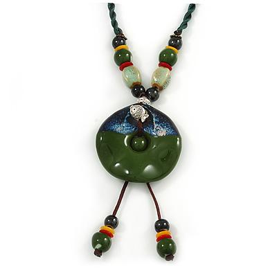 Handmade Green, Blue, Black Ceramic Bead Tassel Green Silk Cord Necklace - 80cm Long/ 9cm Tassel