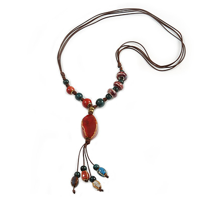 Long Multicoloured Ceramic Bead Tassel Cord Necklace - 58cm to 80cm Long (Adjustable)