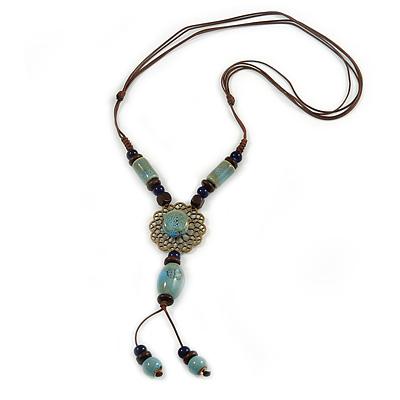 Light Blue/ Brown Ceramic Bead Tassel Necklace with Brown Cotton Cords - 60cm L - 80cm L (adjustable)/ 13cm Tassel - main view